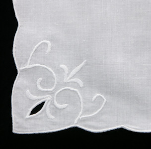 Cambria Embroidered White Tea Napkin