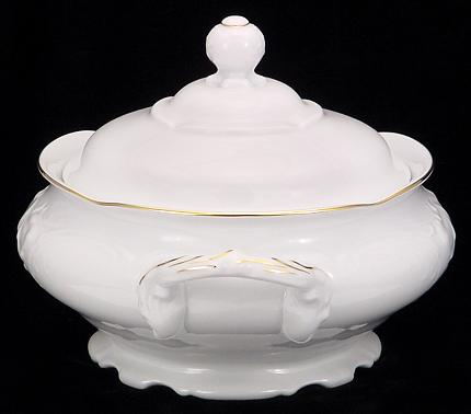 Elegance Fine China Soup Tureen With Plate - detail