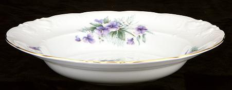 Violet Fine China Rimmed Soup Bowl - detail
