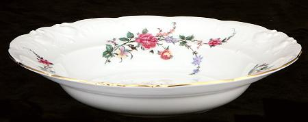 Rose Garden Fine China Rimmed Soup Bowl - detail