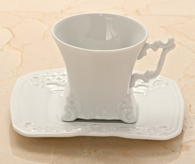 White Porcelain Rectangular Lungo Cup
