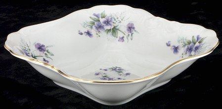 Violet Fine China Square Serving Bowl - detail