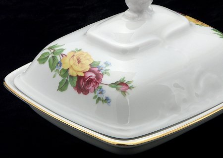 Rose Bouquet Fine China Covered Butter Dish - detail