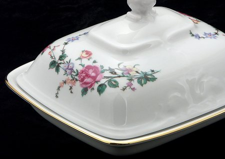 Rose Garden Fine China Covered Butter Dish - detail