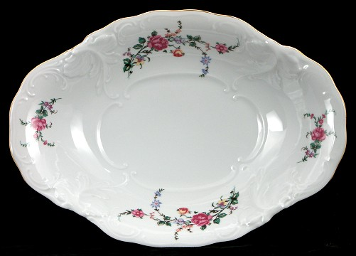 Rose Garden Fine China Footed Serving Bowl - detail