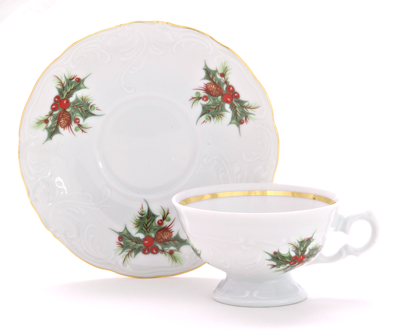 Christmas Berry Fine China Children's Teacup and Saucer
