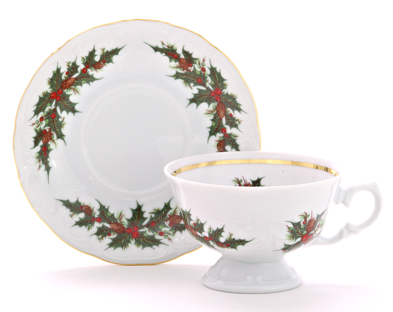 Christmas Berry Fine China Teacup and Saucer