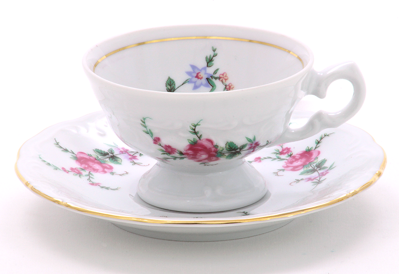 Rose Garden Fine China Children's Teacup and Saucer