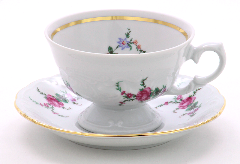 Rose Garden Fine China Teacup and Saucer