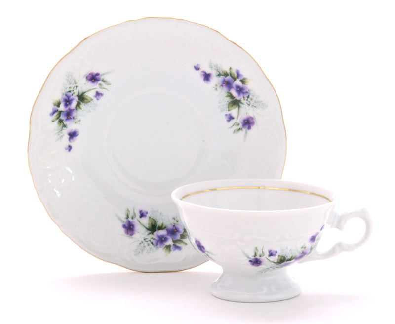 Violet Fine China Children's Teacup and Saucer