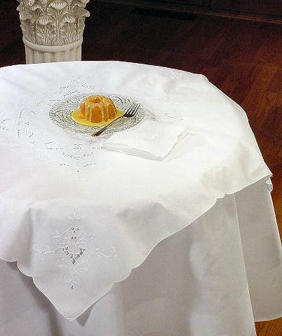 Elise Embroidered Cutwork Tea Tablecloth Set - 36 x 36 Square