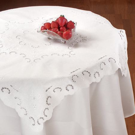 Paravelle Embroidered Cutwork Tea Tablecloth - 36 x 36 Square
