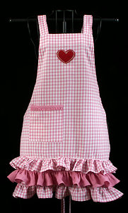 Pink Gingham Heart Apron for Ladies