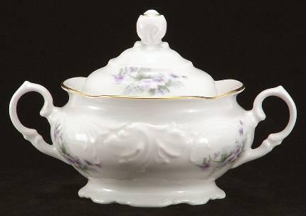 Violet Fine China Covered Sugar Bowl
