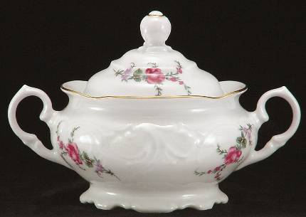 Rose Garden Fine China Covered Sugar Bowl