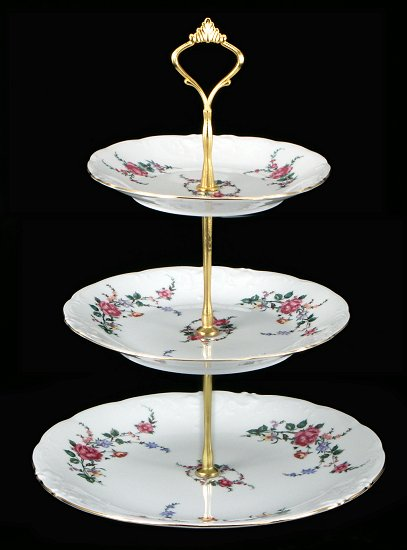 Rose Garden Fine China Tiered Plate