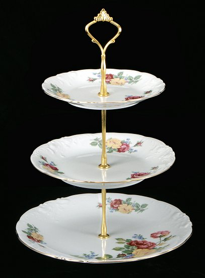 Rose Bouquet Fine China Tiered Plate