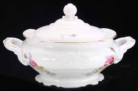 Rose Bouquet Fine China Covered Vegetable Dish