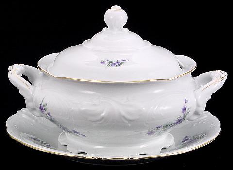 Violet Fine China Soup Tureen With Plate