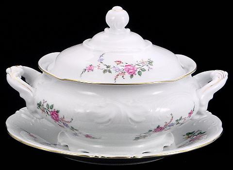 Rose Garden Fine China Soup Tureen With Plate