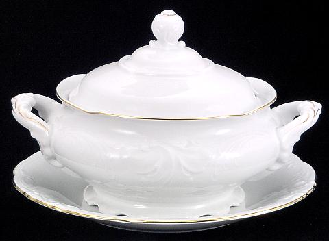 Elegance Fine China Soup Tureen With Plate