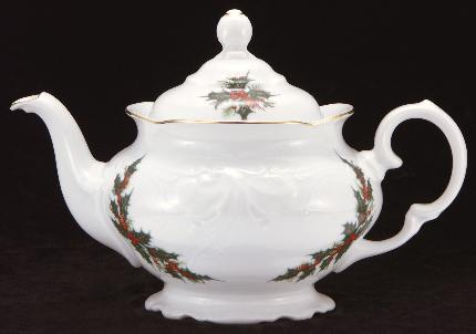 Christmas Berry Fine China Teapot - Small