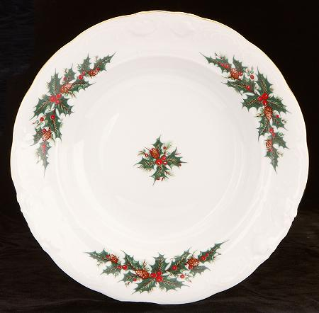 Christmas Berry Fine China Rimmed Soup Bowl