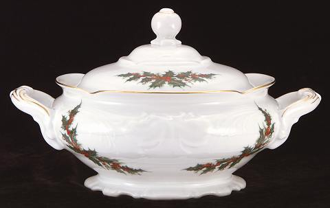 Christmas Berry Fine China Covered Vegetable Dish