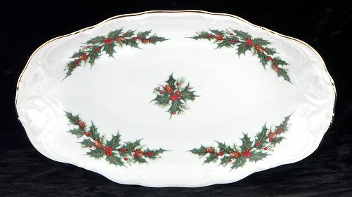 Christmas Berry Fine China Long Serving Dish