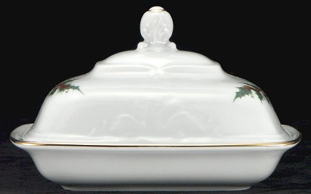 Christmas Berry Fine China Covered Butter Dish