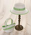 Lime Green and White Girl&#039;s Hat and Purse Set