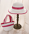 Fuchsia and White Girl's Hat and Purse Set