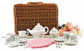 Pink Floral Tea Set in a Basket