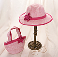 Pink Satin Rose Straw Hat and Purse Set