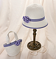 Purple Roses Girl's Hat and Purse Set