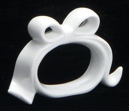 White Bow Napkin Ring - detail