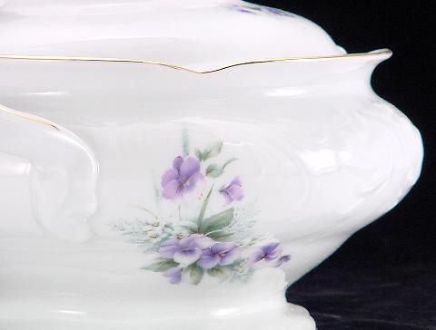 Violet Fine China Covered Vegetable Dish - detail