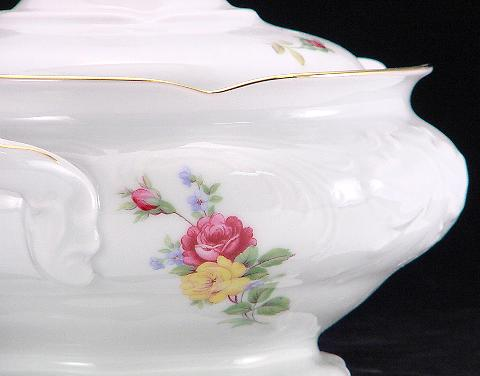 Rose Bouquet Fine China Covered Vegetable Dish - detail