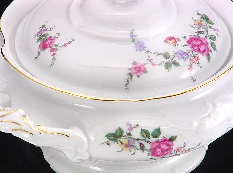 Rose Garden Fine China Covered Vegetable Dish - detail
