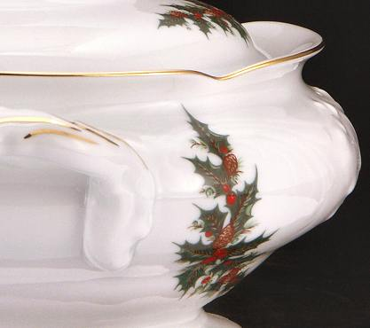 Christmas Berry Fine China Covered Vegetable Dish - detail