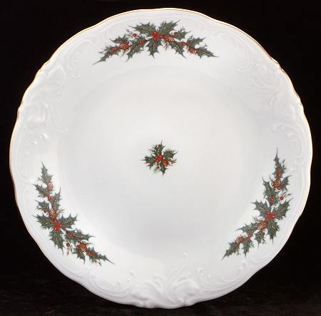 Christmas Berry Fine China Soup Tureen With Plate - detail