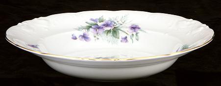 Violet Fine China Rimmed Soup Bowl - detail