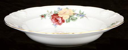 Rose Bouquet Fine China Rimmed Soup Bowl - detail