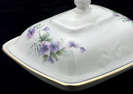 Violet Fine China Covered Butter Dish - detail