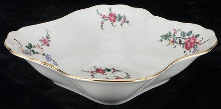 Rose Garden Fine China Square Serving Bowl - detail