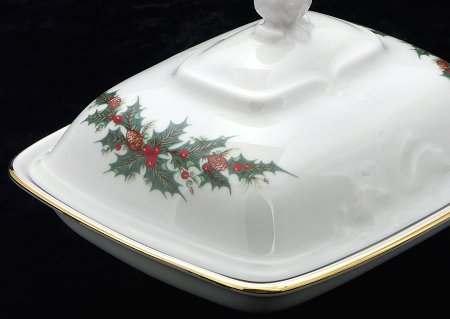 Christmas Berry Fine China Covered Butter Dish - detail
