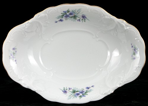 Violet Fine China Footed Serving Bowl - detail
