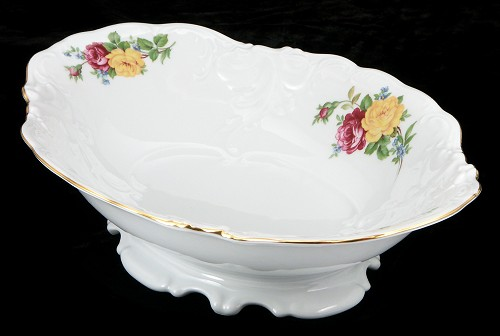 Rose Bouquet Fine China Footed Serving Bowl - detail