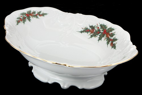 Christmas Berry Fine China Footed Serving Bowl - detail