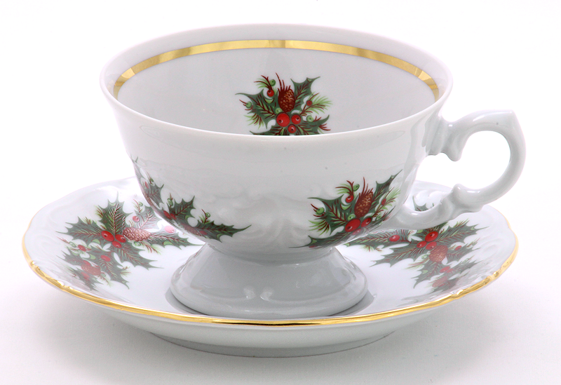 Christmas Berry Fine China Tea Set for Four